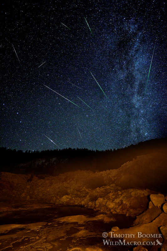 2015 Perseid meteor shower at Bumpass Hell, Lassen Volcanic National Park, CA. Stock Photo ID=SCE0131
