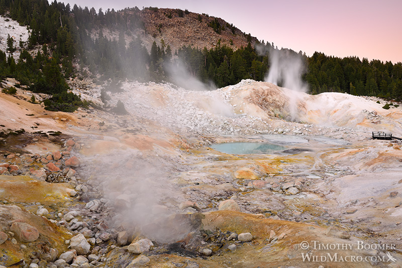 Bumpass Hell, Lassen Volcanic National Park's most impressive hydrothermal area.  Stock Photo ID=SCE0134